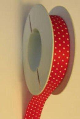 Schleifenband 25 mm rot weiß Punkte